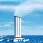 Artificially inducing cloud cover is one proposal being suggested by engineers to deal with a warming Arctic. In this picture the towers are installed on ships that can be moored in Arctic waters to spray seawater into the upper atmosphere.