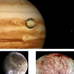 Galileo provided us with a new perspective on the Jovian system as it repeatedly flew by Jupiter's many moons. Seen here at the top is the moon Io with the planet in the background.