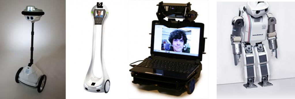 Four different telepresence robot designs