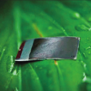 Sun Catalytix is a Massachusetts company trying to take technology from the lab to the commercial market. Shown here is the artifical leaf device designed to capture CO2 in the presence of sunlight and water and convert it into hydrogen and oxygen.    Source: Sun Catalytix