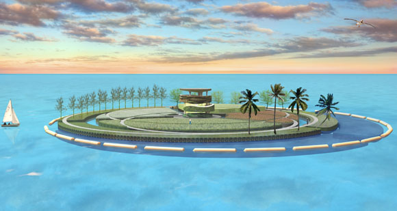 Plastic garbage in the ocean can be used to build recycled islands