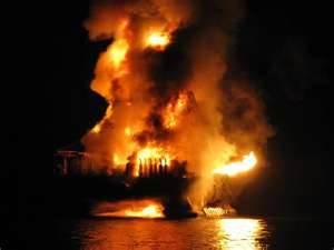 deepwater-horizon explosion, fire and oil spill