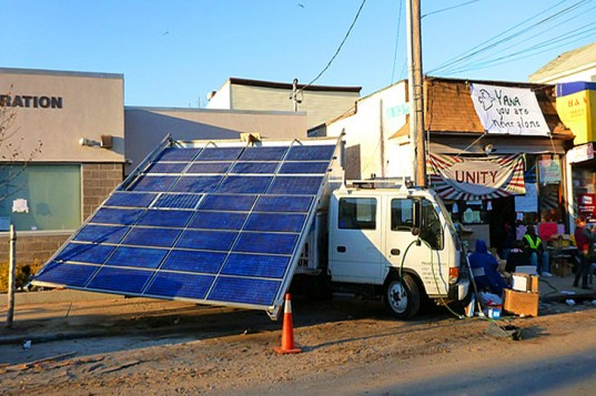 mobile emergency solar power being delivered to post sandy