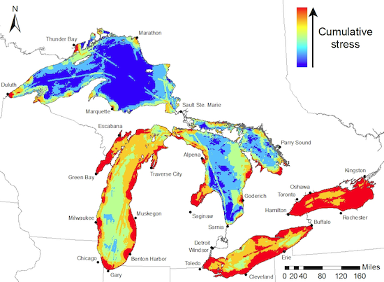 In this map of the Great Lakes the colour red indicates areas of the lakes that have the greatest accumulated stress. Lake Ontario, the most easterly and downstream is the one being most impacted.   Source: