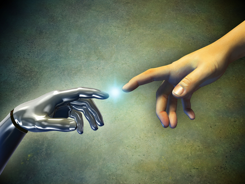 the hand of man touches robots