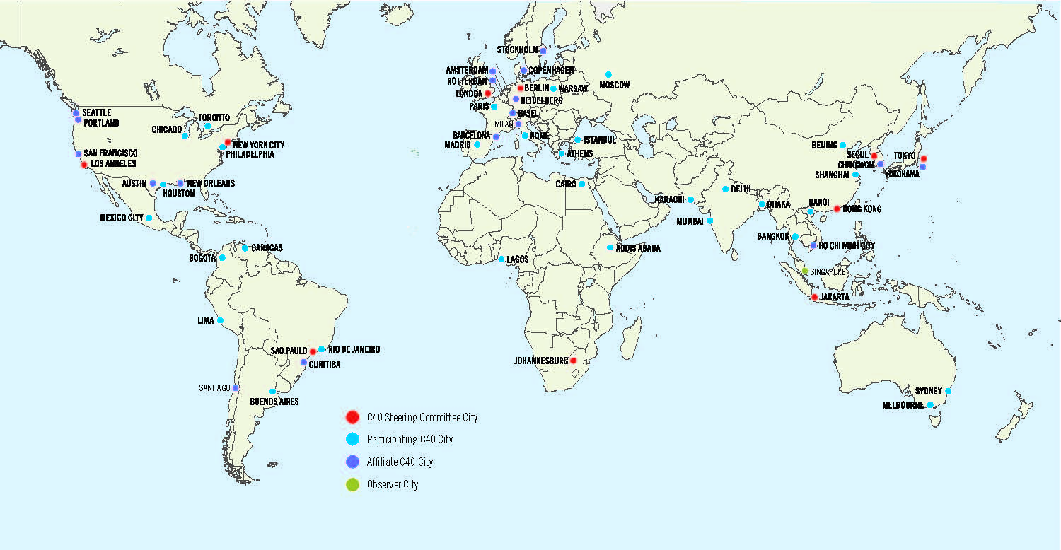 Where are we seeing leadership in the climate change file in cities – Map World Cities