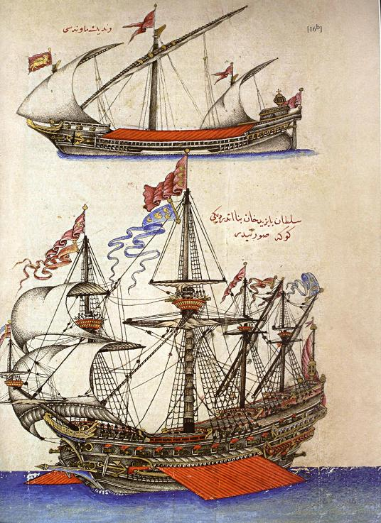 The Ottoman navy of the 16th century was experimenting with square rigging creating a hybrid galley and sailing ship.