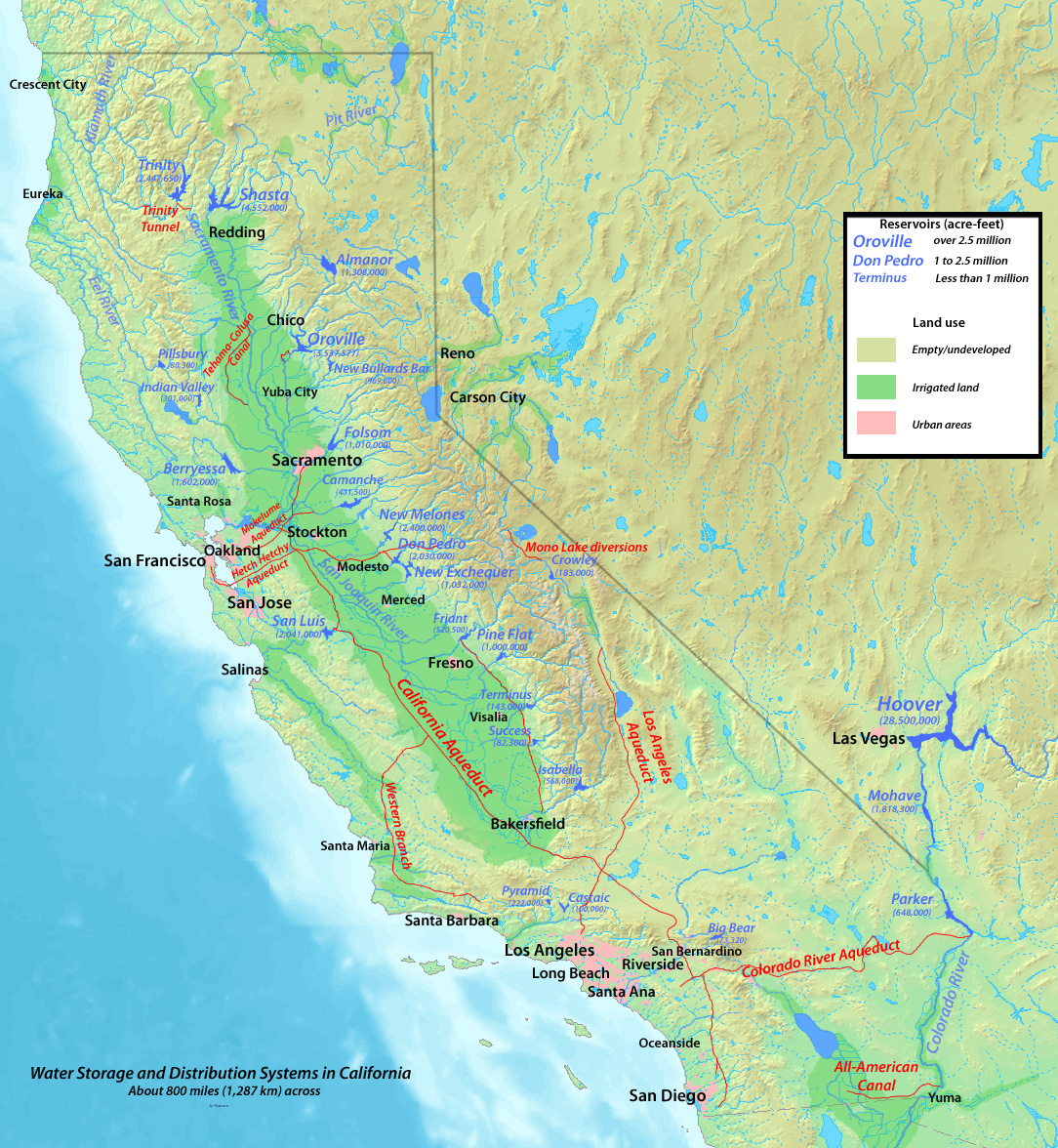 Part Of Climate Change And The Rivers Of North America - Rivers of california map