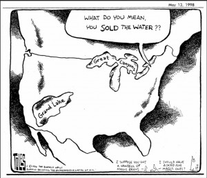 Water diversion cartoon Great Lakes