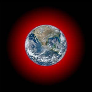 Infrared glow of heat from Earth emitted to space