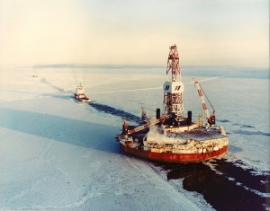 Arctic drilling rig being towed off Alaska