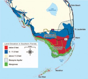 Southern Florida Showing Elevations and Aquifer