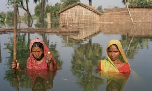 Impact of climate change: flooding in India.