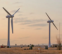 three & two-bladed wind turbines
