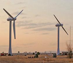 three & two-bladed wind turbines