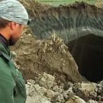 Siberian methane permafrost hole