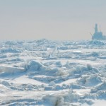 Arctic ocean and oil rig