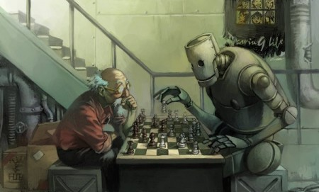 Robot playing chess with a human