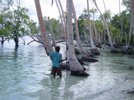 Solomon Islands face the sea
