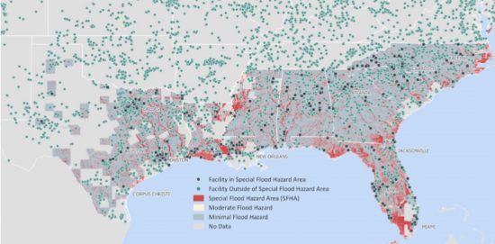 the source for this map is fema which shows all facilities in the coverage area of the study